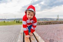 有冠乌鸦的男孩在长凳 免版税图库摄影