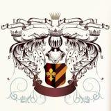 有冠和丝带的Hearaldic盾在被刻记的样式 库存图片