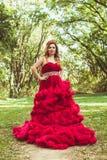 有冠的公主在多云红色礼服 免版税库存图片