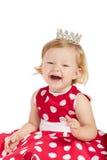 有冠的愉快的女婴 免版税库存照片