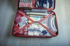 有冬天事的手提箱, 库存照片