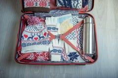有冬天事的手提箱 免版税库存图片