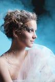 有冬天样式构成的美丽的女孩 库存照片