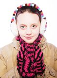 有冬天衣裳的儿童女孩 免版税库存图片