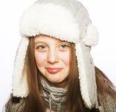 有冬天衣裳的儿童女孩 免版税库存照片