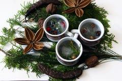 有冰和自然圣诞节装饰的杯 免版税库存图片
