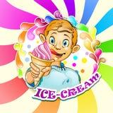 有冰淇凌的动画片小男孩 免版税图库摄影