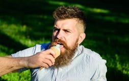 有冰淇凌的有胡子的人 当坐草时,有长的胡子的人吃冰淇凌 有胡子和髭的人 库存照片
