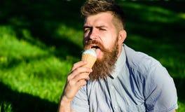有冰淇凌的有胡子的人 纤巧概念 当坐草时,有长的胡子的人吃冰淇凌 308个黄铜弹药筒报道了遥远的空的地面下跪人步枪射击吊索雪目标冬天 免版税库存图片