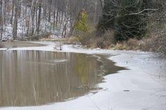 有冰的池塘在边缘 免版税图库摄影
