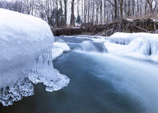 有冰的河 库存照片
