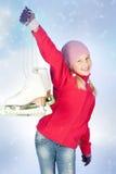 有冰鞋的小女孩 免版税库存照片