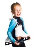 有冰鞋的小女孩 免版税图库摄影