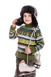 有冰鞋的男孩,被绝缘的背景 免版税库存照片