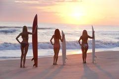 有冲浪板的女子冲浪者在日落 库存照片