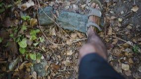 有凉鞋的人走在森林道路的 影视素材