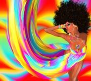 有减速火箭的蓬松卷发发型的性感的迪斯科舞蹈家 免版税库存照片