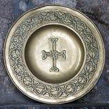 有凯尔特十字架的板材 免版税库存图片