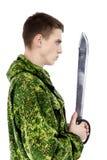 有刀子的军人 免版税图库摄影