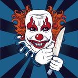 有刀子的邪恶的小丑 库存例证