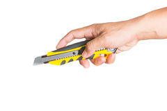 有刀子sharped切削刀的手 免版税库存照片