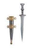 有刀鞘的古色古香的罗马匕首 库存图片