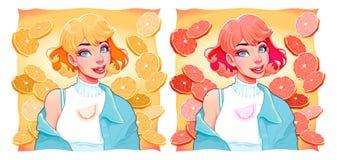 有切片的两个女孩柠檬和桔子在背景 向量例证