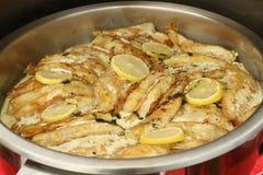 有切片的鱼片柠檬和草本位规模鱼片用切片柠檬和草本装饰了,迪拜, 2017年7月21日的阿拉伯联合酋长国 免版税库存图片
