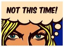 有刚毅眼睛的流行艺术漫画书无所畏惧的妇女被确定为她的权利斗争导航海报例证 库存照片