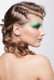 有创造性的发型的妇女 图库摄影