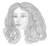 有创造性的头发和时尚耳环的美丽的妇女 库存照片