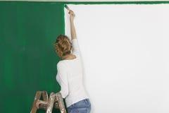有刷子的妇女在绿色墙壁前面 免版税库存图片