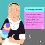 有刷子的妇女从清洁服务 免版税库存图片