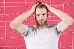 有刺毛严密的面孔的人享受头发,桃红色背景的生气勃勃 Haircare概念 有胡子的人或不剃须的人 免版税图库摄影