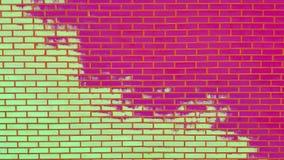 有削皮油漆背景纹理的色的砖墙 免版税库存图片