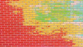 有削皮油漆背景纹理的色的砖墙 库存照片