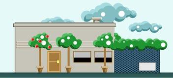 有前面树和云彩的一个房子在天空 传染媒介平的illu 库存照片