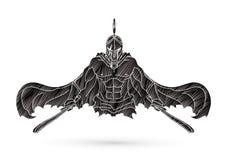 有剑动画片图表传染媒介的恼怒的斯巴达战士 图库摄影