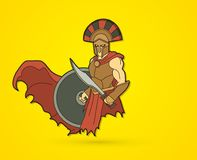 有剑和盾动画片图表传染媒介的恼怒的斯巴达战士 图库摄影