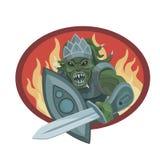 有剑和盾的战士外籍人 皇族释放例证