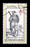 有剑和盾的,板刻, 17世纪,老Unif战士 库存照片
