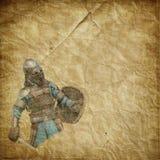 有剑和盾的-减速火箭的明信片装甲的骑士 免版税库存图片