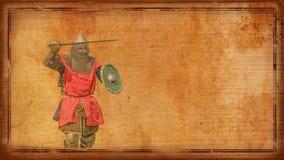 有剑和盾的-减速火箭的明信片装甲的骑士 免版税库存照片