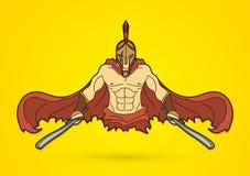 有剑正面图动画片图表传染媒介的恼怒的斯巴达战士 库存图片