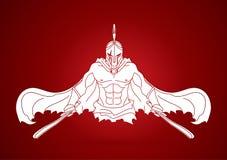 有剑正面图动画片图表传染媒介的恼怒的斯巴达战士 图库摄影