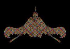 有剑正面图动画片图表传染媒介的恼怒的斯巴达战士 免版税图库摄影