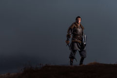 有剑的中世纪骑士在装甲当王位样式比赛  免版税库存图片