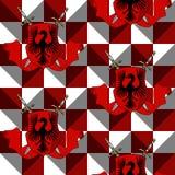 有剑的典雅的纹章学盾,在红色和白色装饰品背景的丝带 皇族释放例证