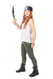 有剑的加勒比女孩 库存照片