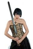 有剑的哥特式妇女 库存照片